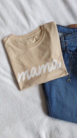 Mama Handprinted T-Shirt - Beige
