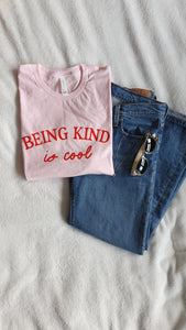 Being Kind Is Cool graphic printed tshirt Pink T-Shirt Asimotki