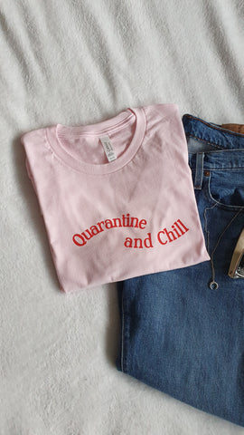 Quarantine and Chill Handprinted T-Shirt - Pink