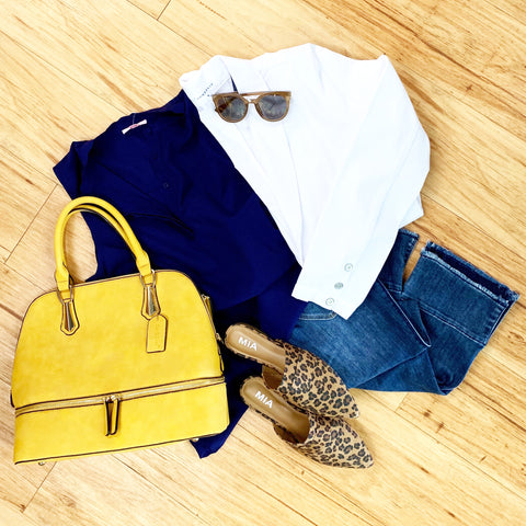Yellow purse with navy short sleeve blouse, white blazer, leopard open back shoes, sungalsses