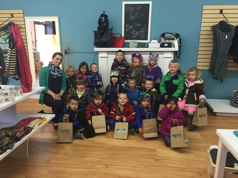 Students from St. Joseph school learn about shopping and retail in Devils Lake, ND.