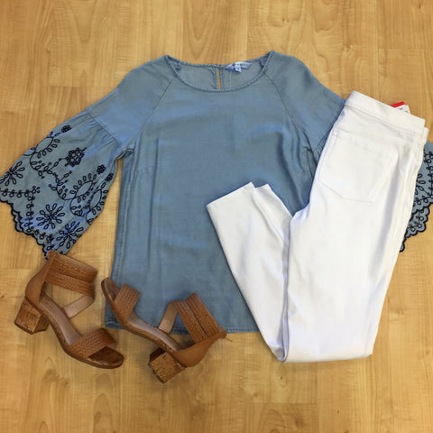 Outfits we are loving, whimsical sleeves, crisp white denim