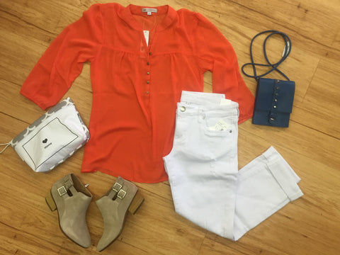Outfits we are loving white and tangerine paired together with booties