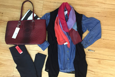 Outfits we are loving! Denim top, leggings, black knit vest, red croco bag