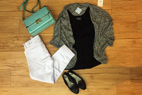 Outfit ideas: White Boyfriend Jeans, Black Tee, Dolman Cardi, Great Flats, Mint bag