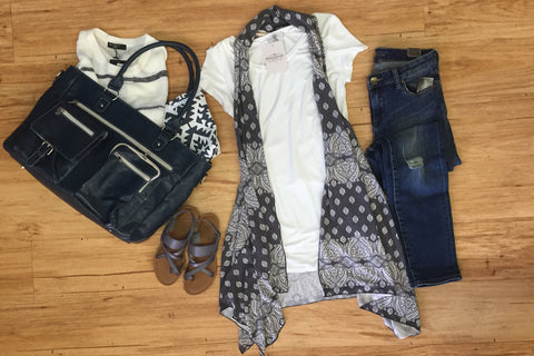 Outfits we are loving: Crochet Back Vest, Flowing Tee, Denim, Weekender bag, Blue Sandals