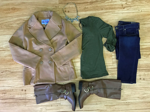 Camel peacoat styled with olive, denim and tan boots.