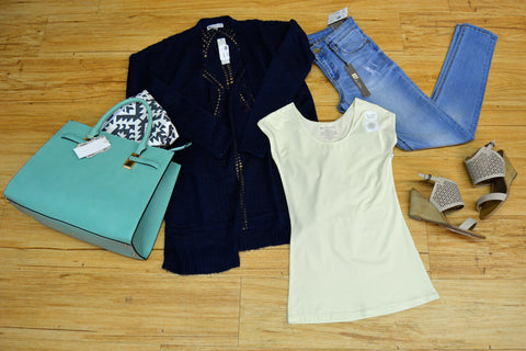 Outfits we are loving: Long navy cardigan, mint green purse, light lime tee, light blue denim