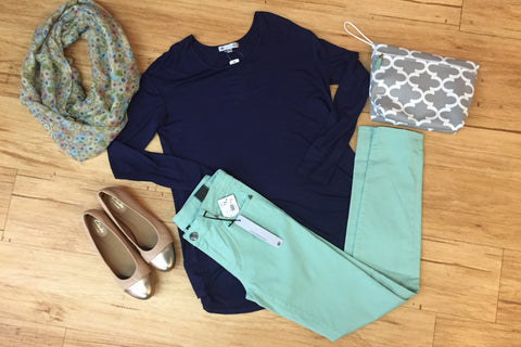 Outfits we are loving: Mint Denim, Navy Laid back tee, nude captoe flat, floral scarf, make up bag