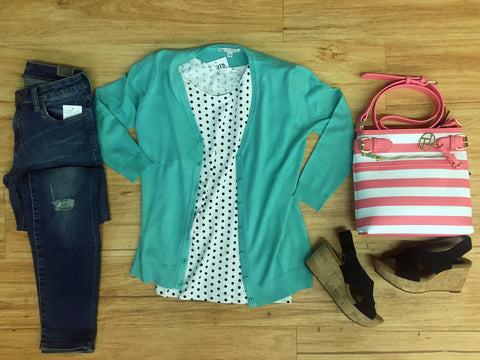 Outfits we are loving! Florida Aqua Cardi, Black & White Polka Dots, Coral bag, comfiest wedges