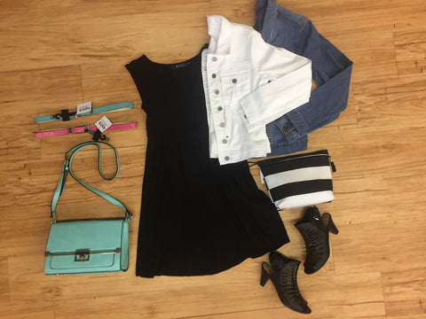 Outfits we are loving: Black dress, denim jacket, adorable heels, color pop bag, make up bag for getting ready