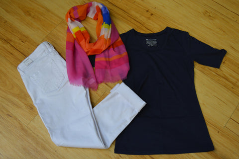 Outfits: Navy Top, White Boyfriend jeans, scarf for color and pattern