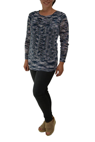 Space dyed sweater looking great with dark denim transitioning into fall a bit