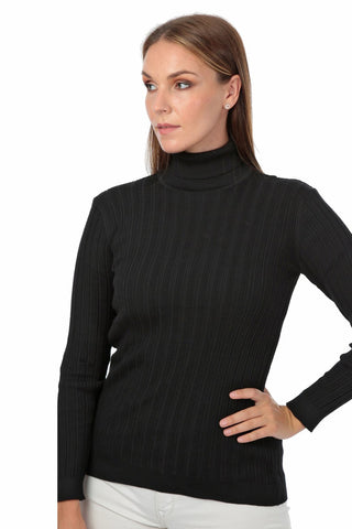 Toda Bela Ribbed Turtle Neck + Black