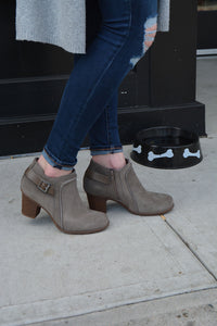 Clarks rubber sole heeled ankle booties