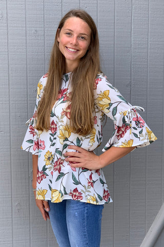 Downeast Falling Floral Top