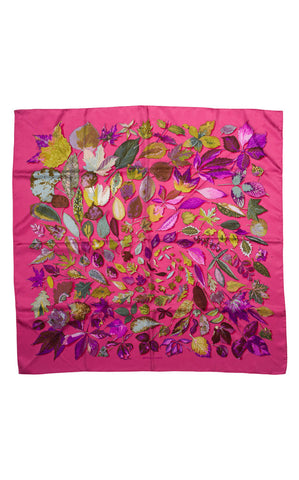 Hermes Tourbillion Falling Leaves Print Scarf
