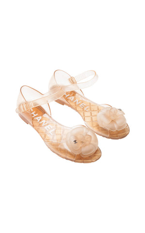 Chanel Camellia Open Toe Jelly Sandals