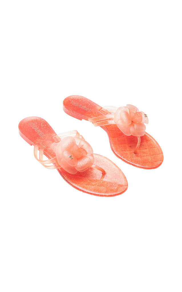 Chanel Camellia Thong Jelly Sandals