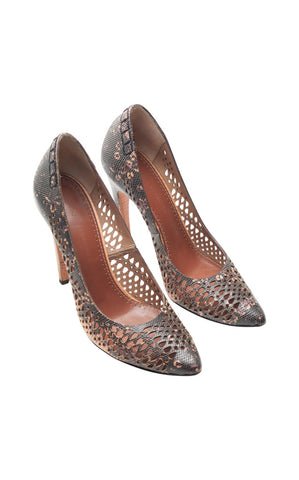 Proenza Schouler Snakeskin Pointed-Toe Pumps