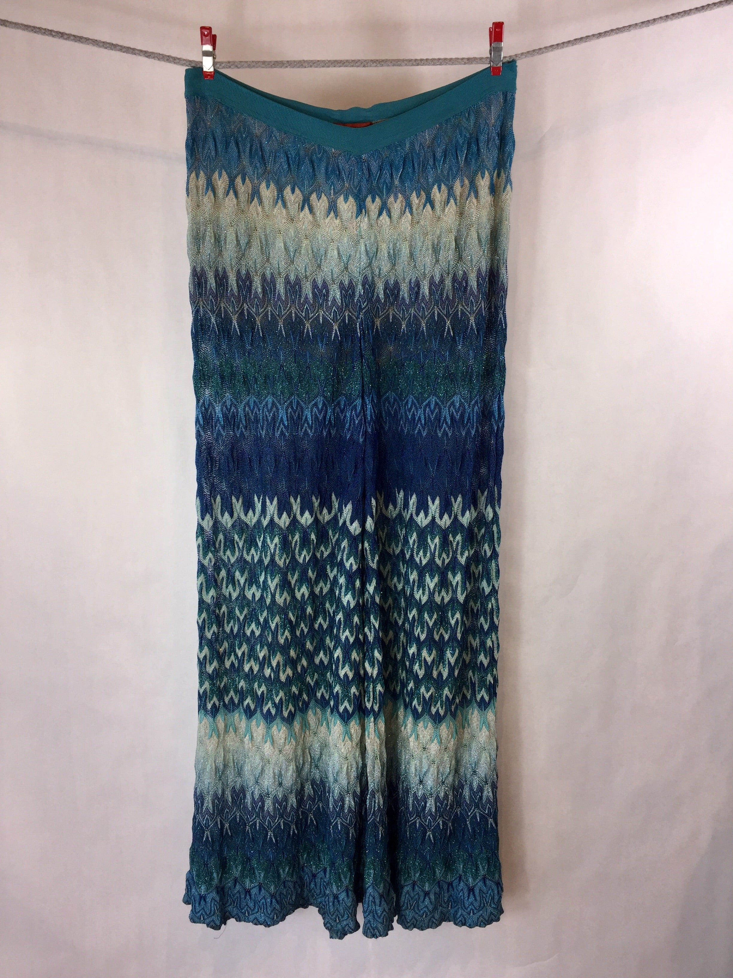 Blue Striped Knit Pants