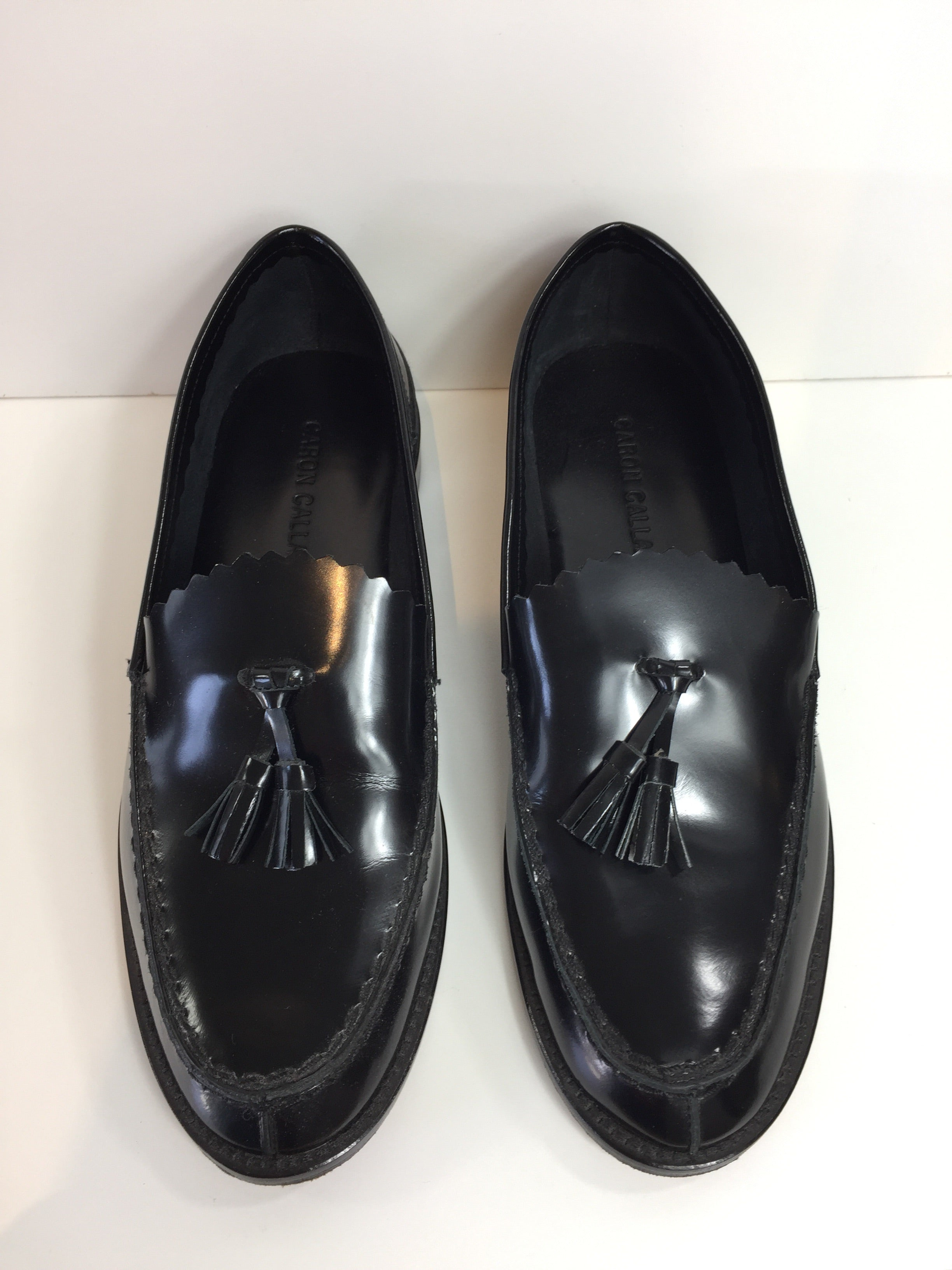 Black Leather Zig Zag Loafer
