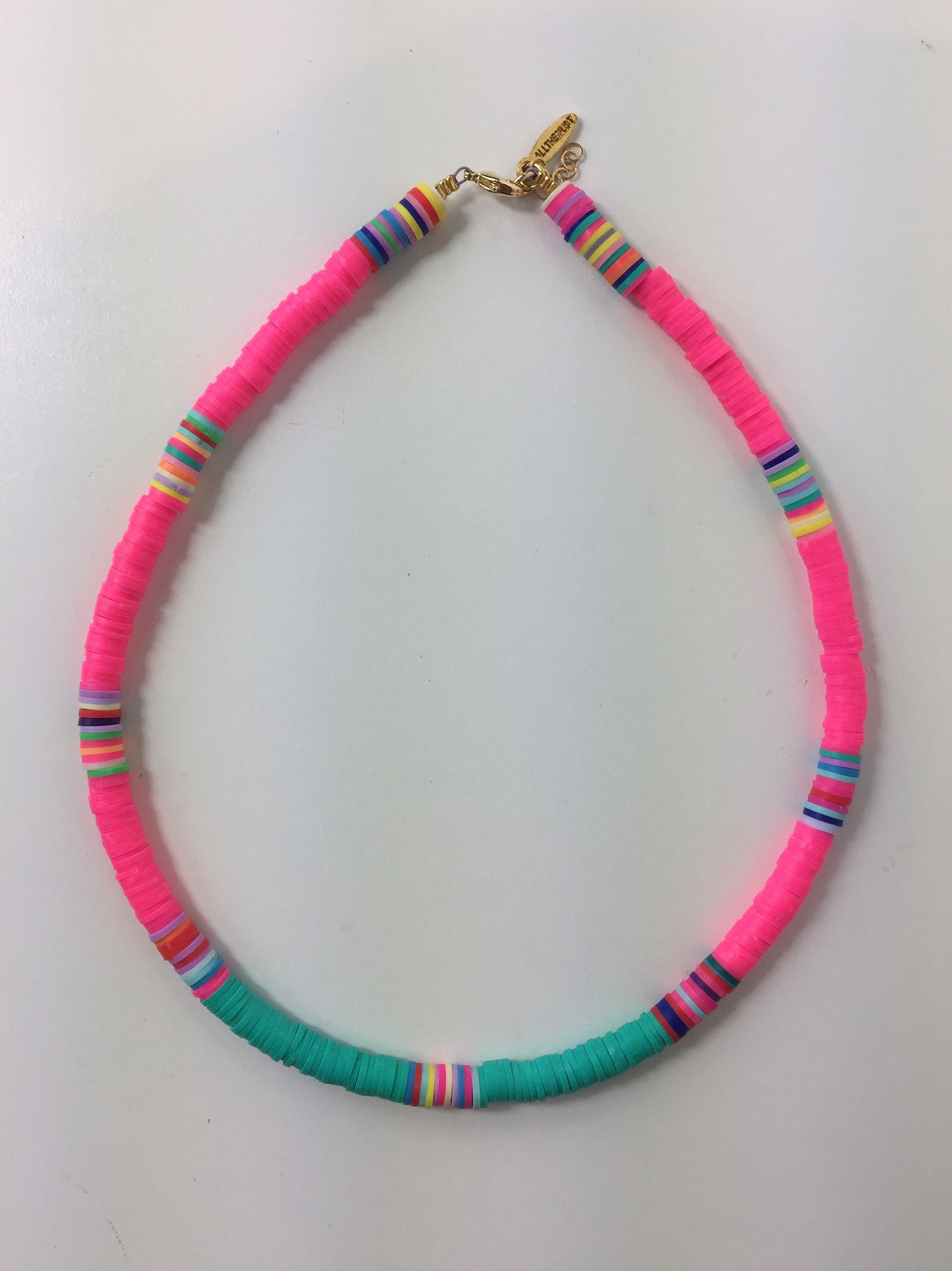 Multicolor Neon Disc Necklace