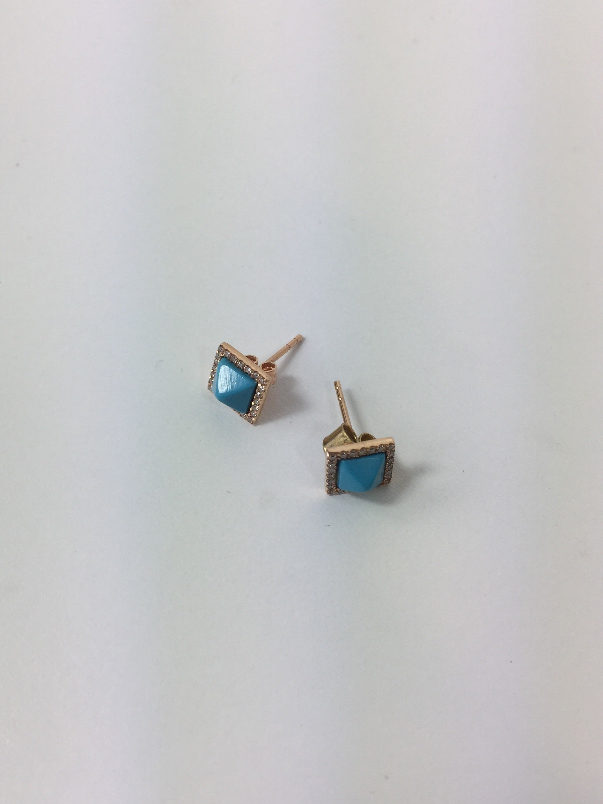 Turquoise Pyramid Earrings