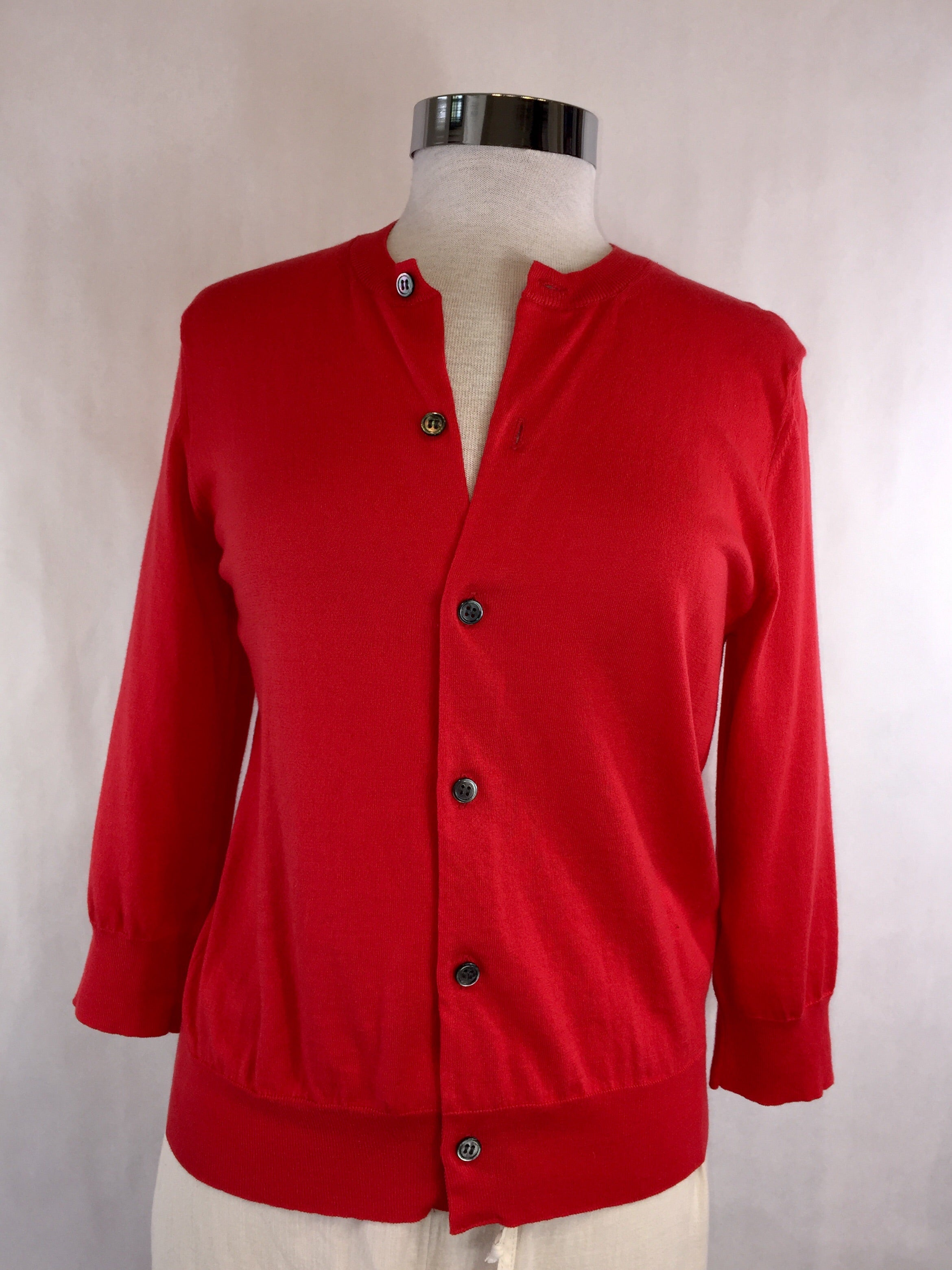 Red Cotton 3/4 Sleeve Cardigan