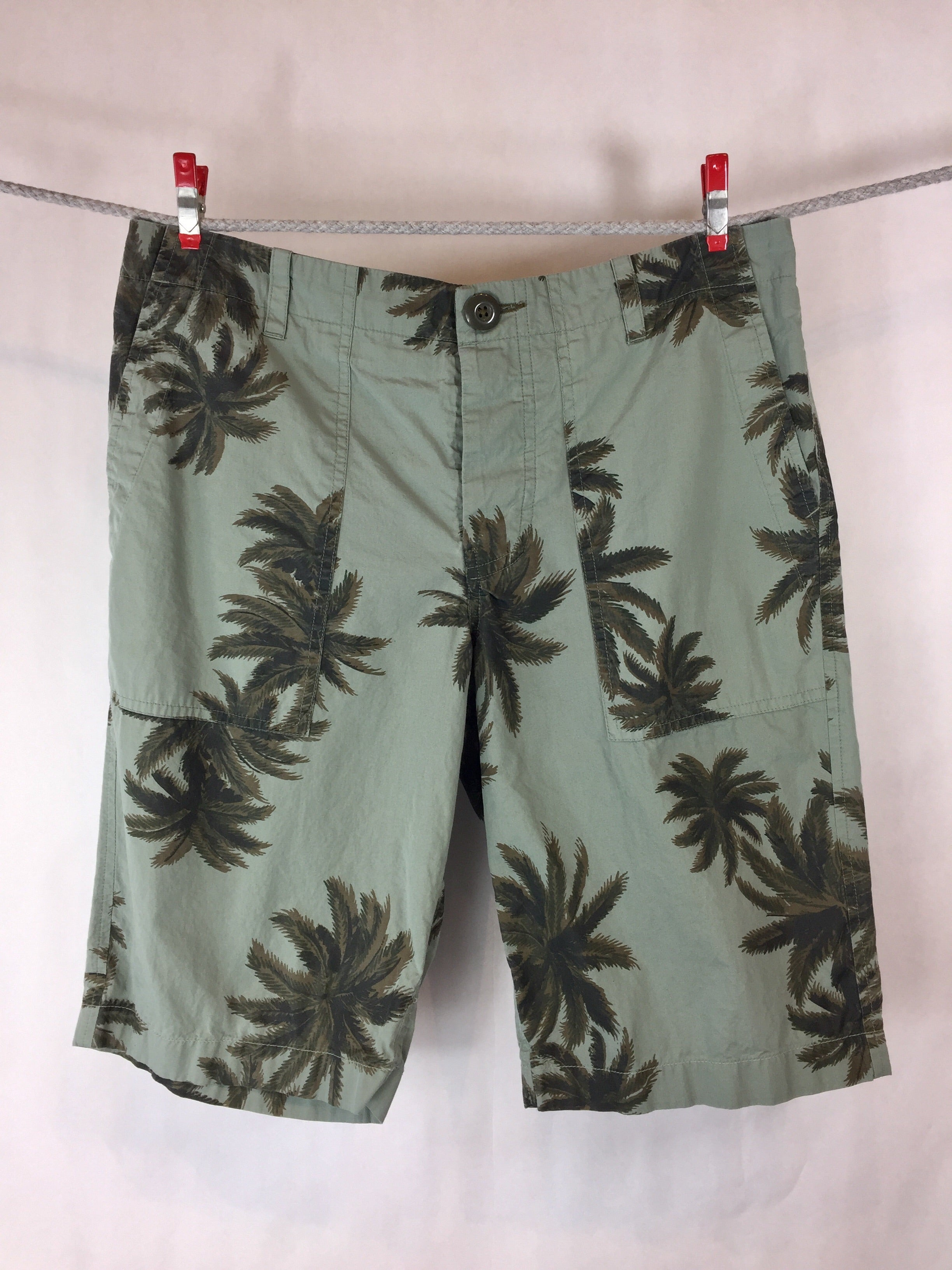 Olive Palm Tree Printed Shorts