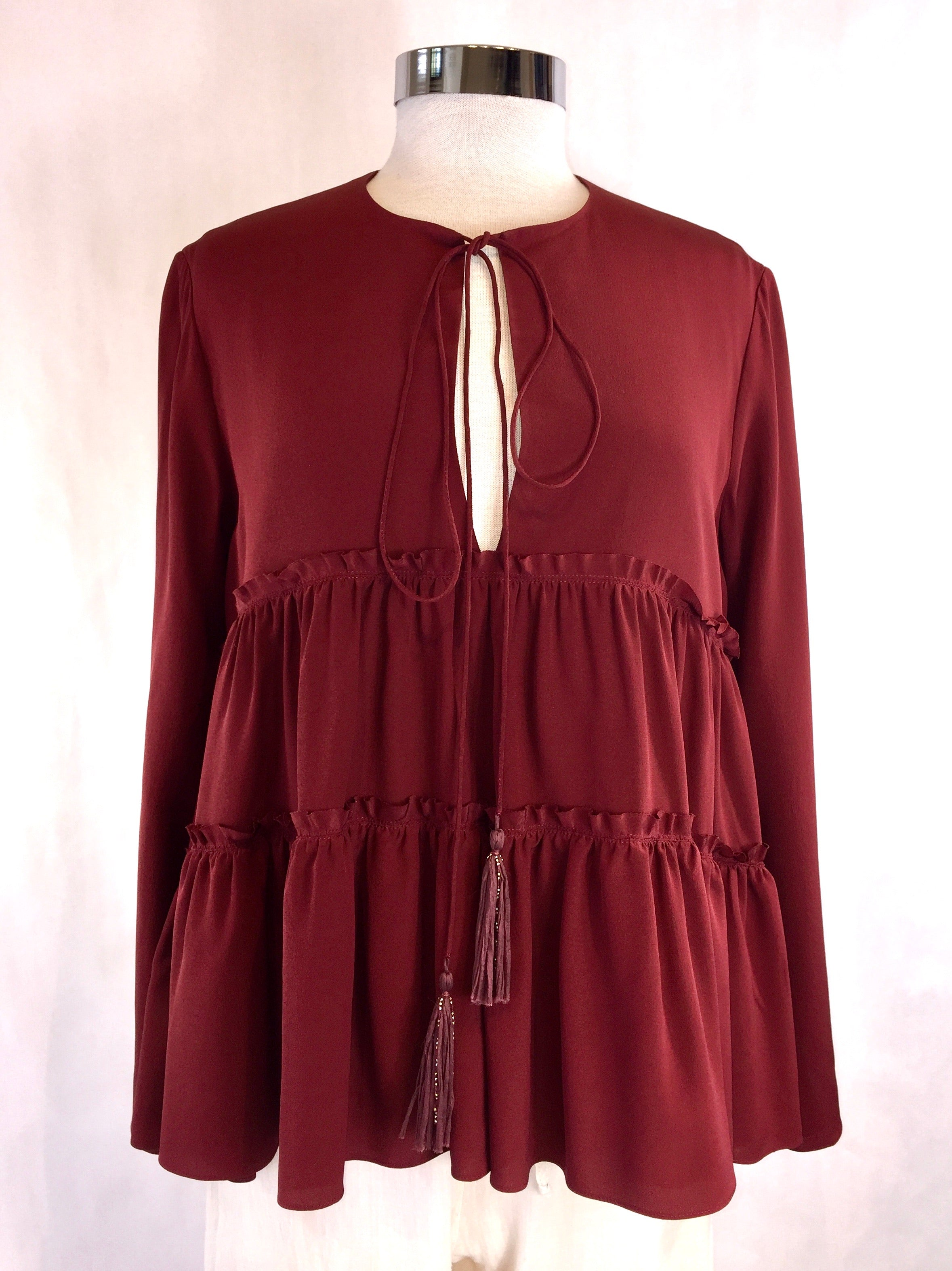 Burgundy Silk Tiered Top