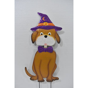 Dog with Witch Hat Yard Art