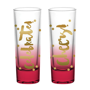 "Holiday Shot Glasses - Set of 2 - ""Celebrate!"" & ""Cheers!"""