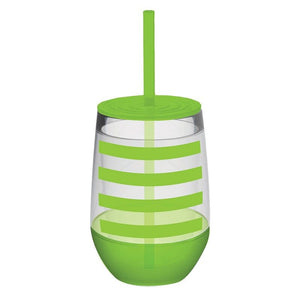 Stemless Tumbler with Lid & Straw - Green Stripe