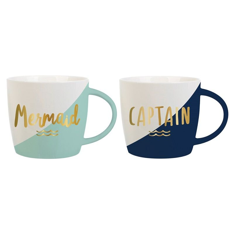 Mermaid & Captain Coffee Mug Set