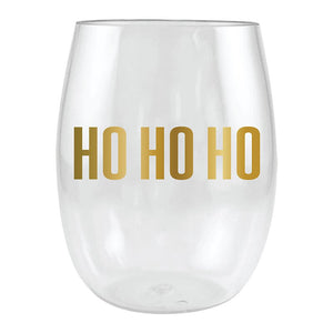 """Ho Ho Ho"" Stemless Wine Glass"