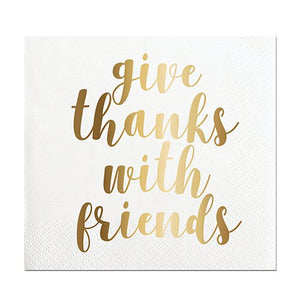 """Give thanks with friends"" Foil Beverage Napkins, 20 ct."