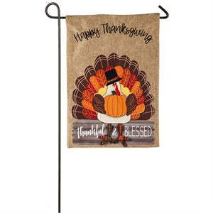 Thankful and blessed turkey garden burlap flag