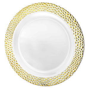 "10.25"" Gold Pebbled Plates"