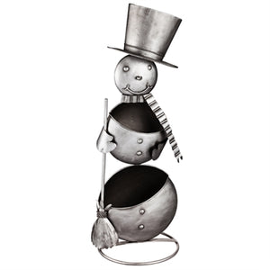 Metal Statement Planter, 2 Tiered Snowman