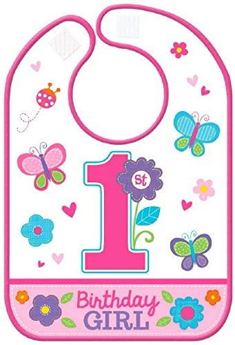 Flowers and Butterflies First Birthday Bib