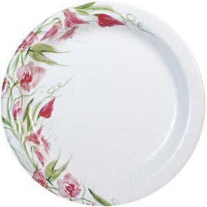 "10"" Pink Floral Paper Plates"