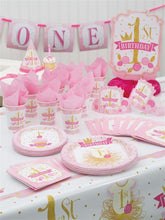 Load image into Gallery viewer, Pink and Gold Tutu 1st Birthday Party Hats