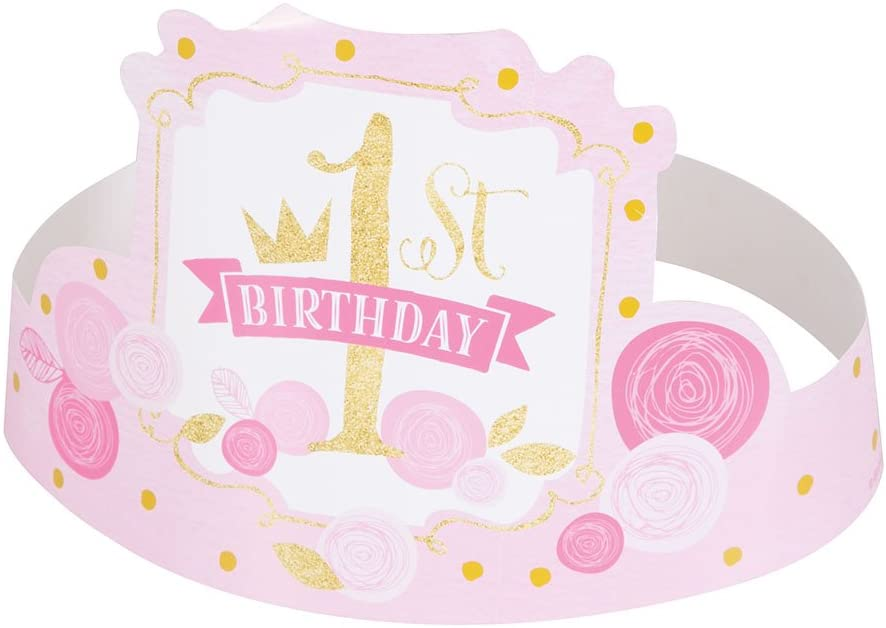 Pink and Gold Tutu 1st Birthday Party Hats