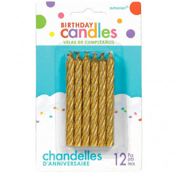 Gold Spiral Birthday Candles