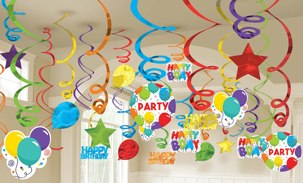 Happy Birthday Swirl Decorations!