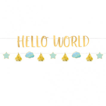Blue & Metallic Gold Hello World Baby Banner Kit