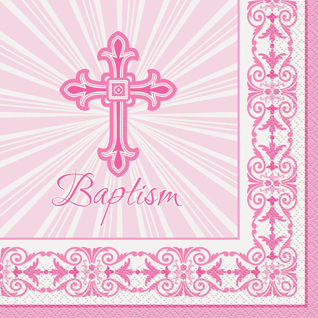 Baptism Pink - Paper Lunch Napkins 16 ct.
