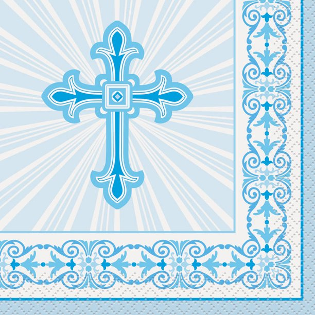 Religious Blue - Paper Lunch Napkins 16 ct.
