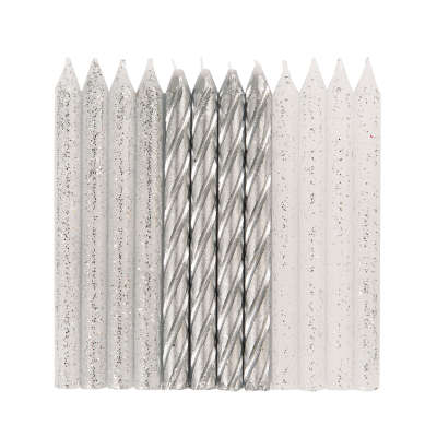 Spiral Silver Glitter Birthday Candles